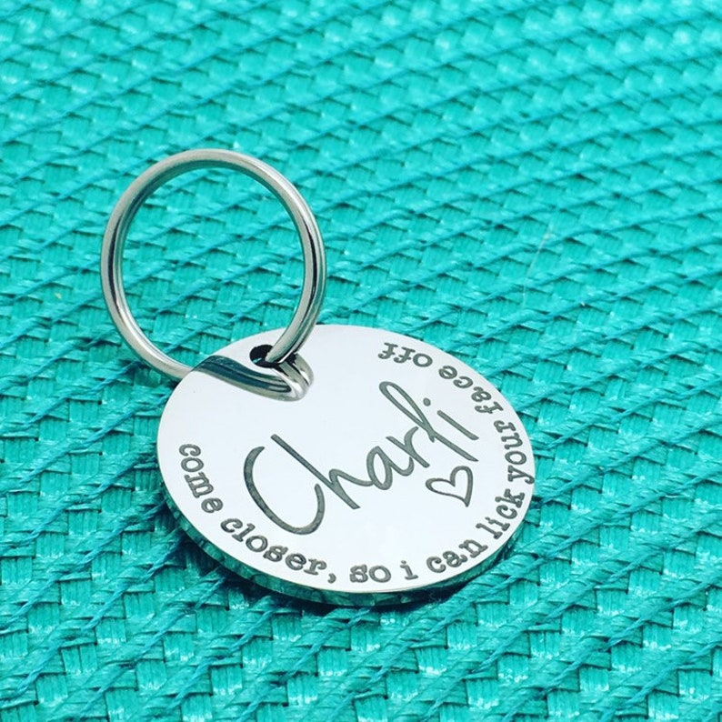 Personalized Dog Name Tag for Dogs, Cute Funny Dog Tag, Naughty Dog Tag,  Engraved Dog Name Tag, Stainless Dog Tag, Dog Collar Tag