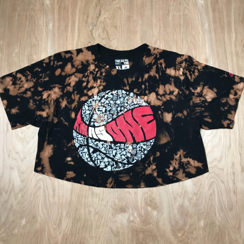 dacb78e9 Custom Acid Wash Adidas Rise As One Basketball Cropped TShirt // Reverse  Dyed Retro Vintage 90's Rise As One Adidas Cropped Top XL