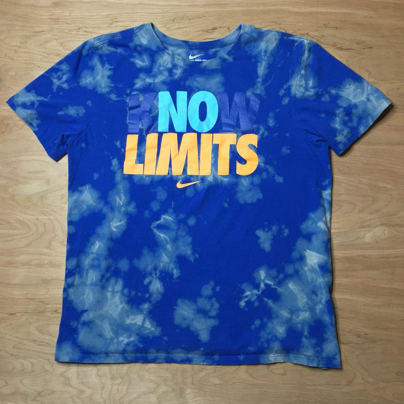 b3b909db Custom Acid Wash NO LIMITS Nike M/L TShirt // Reverse Dyed Blue Nike kNOw  LIMITS TShirt Adult Med/Large
