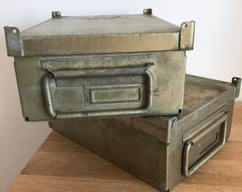 2 metal boxes signed PEUGEOT