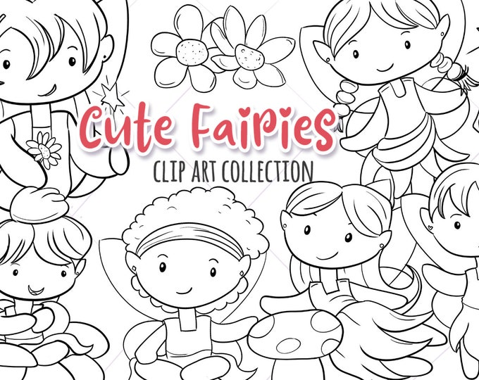 Cute Fairy Black and White Clipart, Fairy Digital Stamps, Fairy Coloring Pages, Fairy Illustrations, Cute Fairies, Kawaii Fairies Birthday