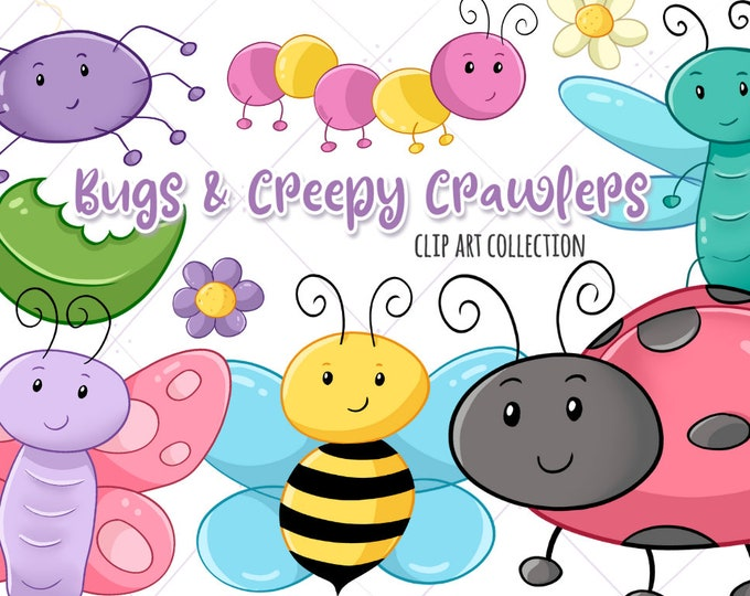 Cute Bugs Clip Art, Kawaii Bugs Clipart, Bugs and Flowers Clipart, Spring Clip Art, Instant Download