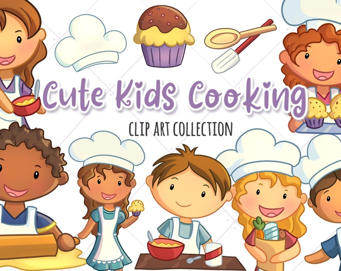 Cute Kids Cooking Clipart Set, Kawaii Kids Baking Clip Art, Kids Making Cupcakes, Kids with Food, Cooking Clip Art, Cooking Graphics