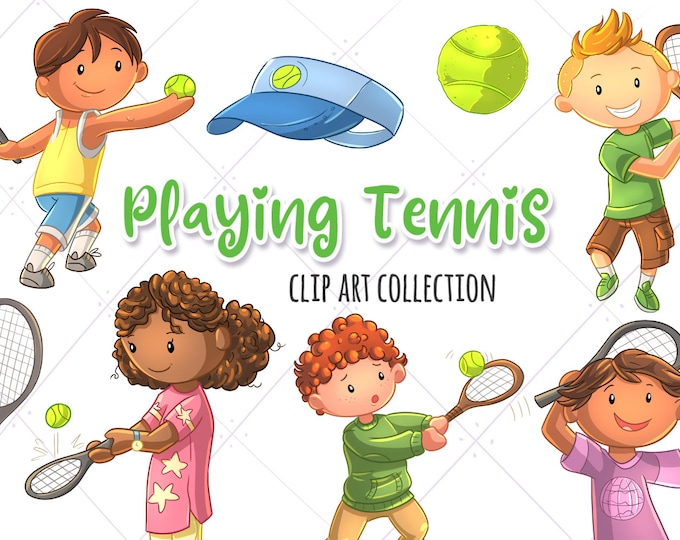 Kids Playing Tennis Sports Clip Art Collection, Cute Tennis, Kawaii Tennis Kids, Boys Playing Sports, Girls Tennis