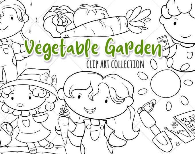 Cute Vegetable Garden Stamps, Kids in the Garden, Kawaii Food Clipart, Spring Kids Digital Stamp Set, Instant Download, PNG