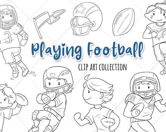 Kids Playing Football Sports Digital Stamps Collection, Cute Football, Kawaii Football Kids, Boys Playing Sports, Girls Football