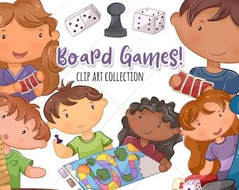 Cute Kids Playing Board Games Clip Art, Kawaii Kids Playing Games, Children Playing Games, Board Games, Fun Clipart