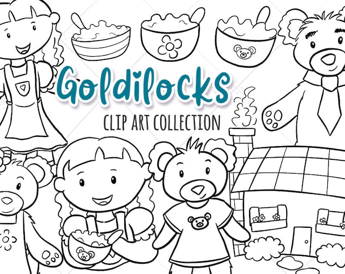 Goldilocks and the three Bears Story Book Illustrations, Black and White Coloring Page Style Drawings, Fairy Tale