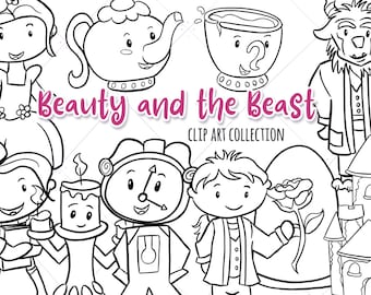 Beauty and the Beast Black and White Clipart, Kawaii Belle and Beast, Cute Fairy Tale Illustrations, Princess Clip Art Digital Stamps