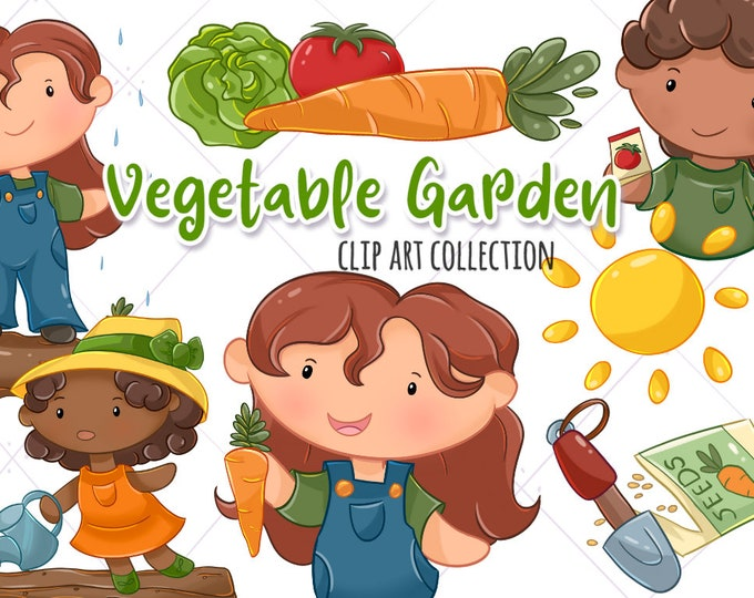 Cute Vegetable Garden Clip Art, Kids in the Garden, Kawaii Food Clipart, Spring Kids Clipart Set, Instant Download, PNG