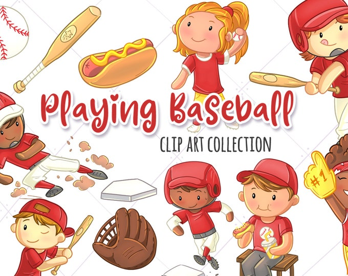 Kids Playing Baseball (Red Version) Sport Clip Art Collection, Cute Baseball, Kawaii Baseball Kids, Boys Playing Sports, Sports Graphics