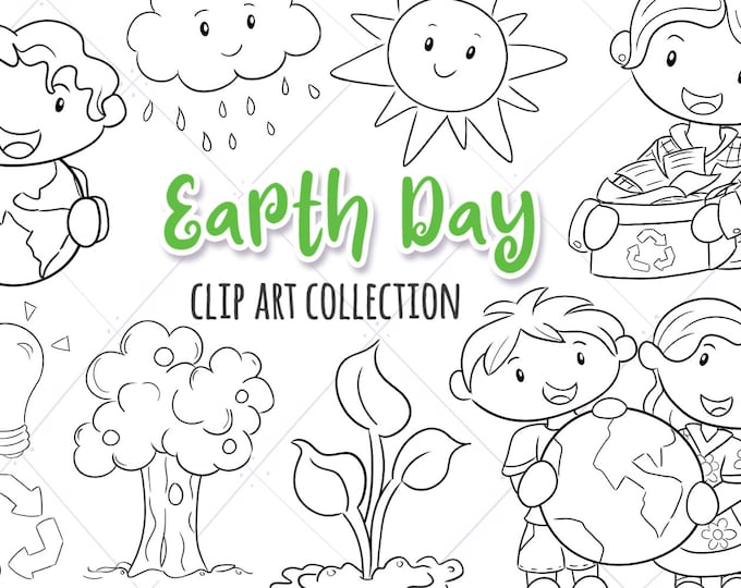 Cute Earth Day Themed Black and White Clip Art Collection, Environmental Kids Stamps, Earth Day Digital Stamps, Kawaii Weather