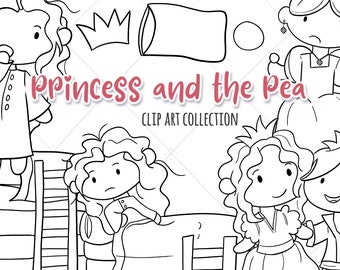 Princess and the Pea Fairy Tale Digital Stamps, Kids Coloring Pages, Black and White Princess Illustrations