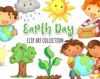 Cute Earth Day Themed Clip Art Collection, Environmental Kids Clipart, Kawaii Earth Day, Kawaii Weather, Cute Recycling Clip Art, Cute Kids