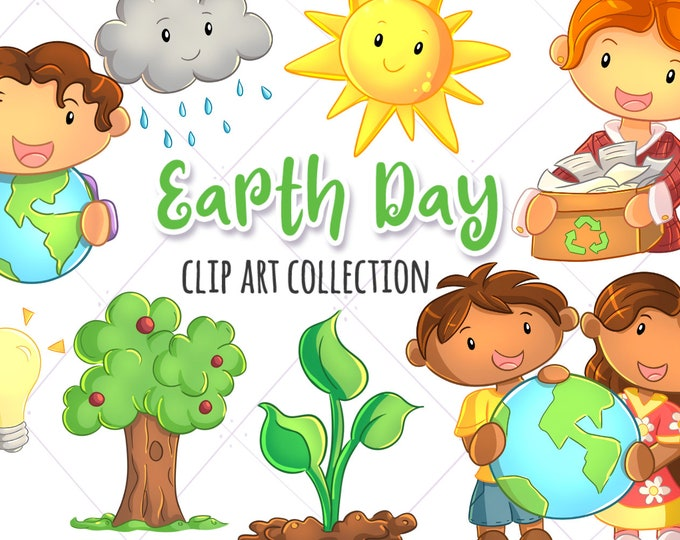 Cute Earth Day Themed Clip Art Collection, Environmental Kids Clipart, Kawaii Earth Day, Kawaii Weather, Cute Recycling Clip Art, Cute Kids