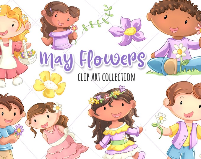 May Flowers Cute Clip Art Collection, Spring Flowers Clipart, Kids with Flowers, Flower Crown Clip Art, Kawaii Flowers