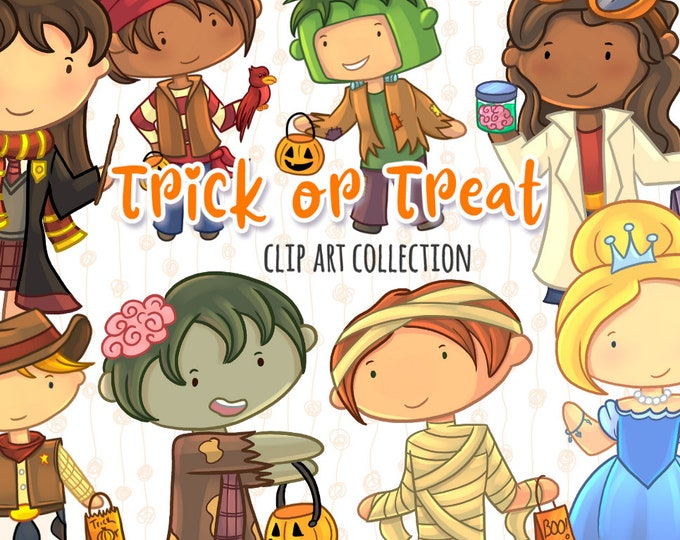 Cute Kids Trick or Treat Clip Art Set - Kids Trick or Treating Clipart - Adorable Halloween Clip Art