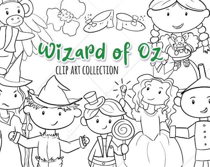 Wizard of Oz Black and White Digital Stamps, Wizard of Oz Coloring Pages, Emerald City Clip Art