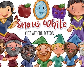 Cute Snow White Clip Art Collection, Snow White and the Seven Dwarfs,  Kawaii Snow White, Cute Fairy Tale Graphics