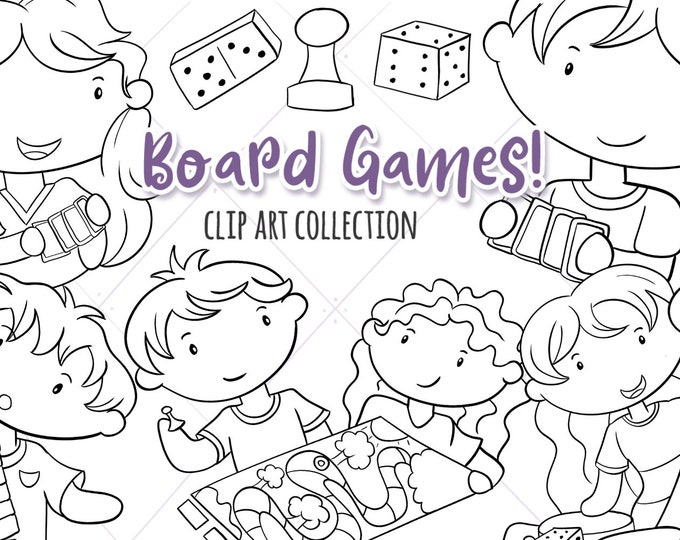 Cute Kids Playing Board Games Black and White Clip Art, Board Game Coloring Pages, Children Playing Games, Board Games, Fun Clipart