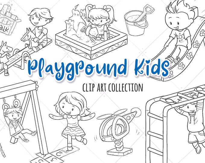 Playground Kids Digital Stamps Collection, Kids Playing, School Playground Clipart, Cute Kids Playing Graphics, Sandbox Clipart