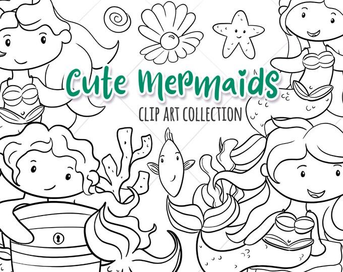 Mermaid Black and White Clipart, Mermaids Digital Stamps, Ocean Life Clipart, Mermaid Coloring, Cute Mermaids, Kawaii Mermaid