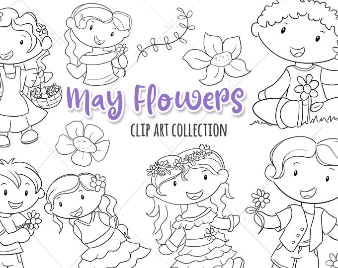 May Flowers Cute Black and White Clip Art Collection, Spring Flowers Clipart, Kids with Flowers, Flower Crown Clip Art, Kawaii Flowers