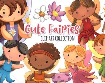Cute Fairy Clipart, Fairies Clip Art, Magic Wand Clipart, Fairy Illustrations, Mushroom Clip Art, Cute Fairies, Kawaii Fairies Birthday