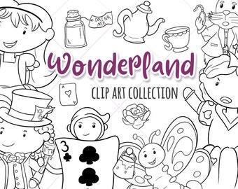 Cute Alice in Wonderland Digital Stamps, Cute Wonderland Illustrations, Kawaii Wonderland, Queen of Hearts Clip Art, Mad Hatter