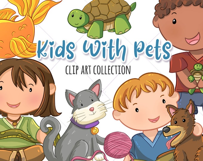 Cute Kids With Pets Clip Art, Kids And Pets Graphics, Kawaii Animals Clipart, Cute Animal Clipart Set, Instant Download, PNG