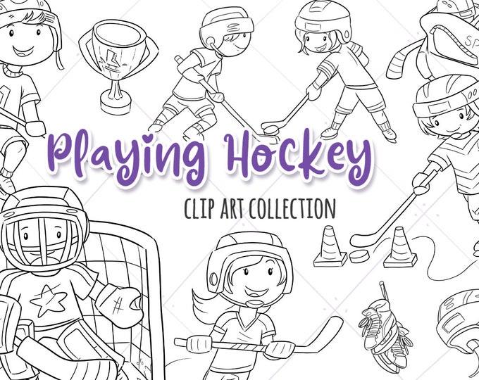 Digital Stamps Kids Playing Hockey Clip Art, Sports Clipart, Boys Hockey Graphics, Girls Hockey Clip Art, Cute Kids Playing Hockey