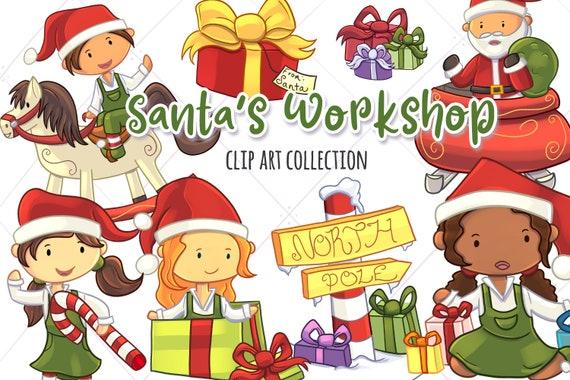 Cute Christmas Clip Art.Santa S Workshop Clip Art Collection Cute Christmas Clip Art Santa Clipart Christmas Time Illustrations