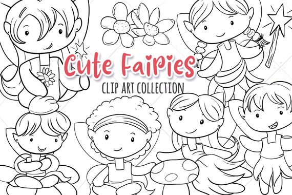 Cute Fairy Black And White Clipart Fairy Digital Stamps Etsy
