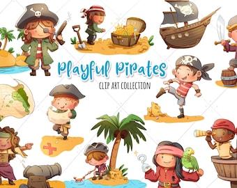 Pirate Clip Art, Pirate Ships Clipart, Pirate Party Graphics, Pirate Invite, Pirate Boy, Pirate Girl, Treasure, Treasure Map
