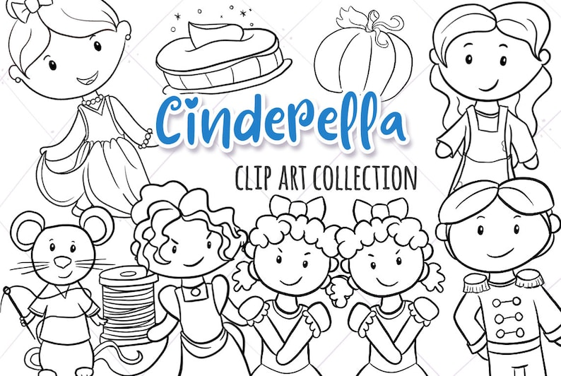 Cinderella Story Digital Sts Fairy Tale Black Etsyrhetsy: Cinderella Story Coloring Pages At Baymontmadison.com