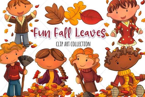 Kids Playing In Fall Leaves Clip Art Collection Falling Etsy