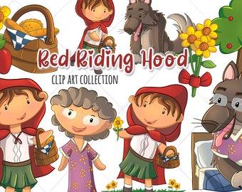Cute Little Red Riding Hood Clip Art, Big Bad Wolf Clipart, Going to Grandma's House, Sunflower Clipart, Cute Kids Clip Art