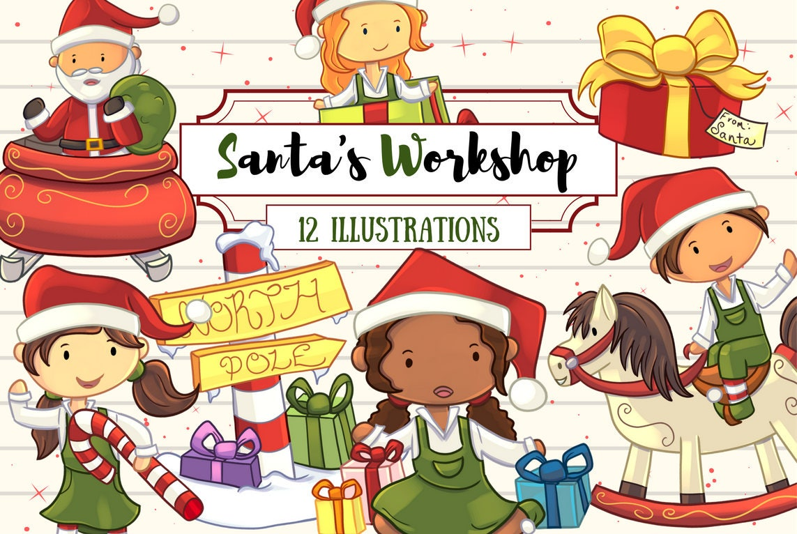 Santa's Workshop Clip Art Collection Cute Christmas Clip ...