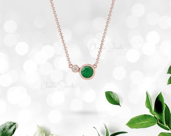 Emerald Necklace   Two Stone Necklace   14k Gold Jewelry   May Birthstone   Bridesmaid Gift   Thanksgiving Sale