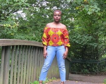 Ankara African Print Off Shoulder Puffed Hand Top