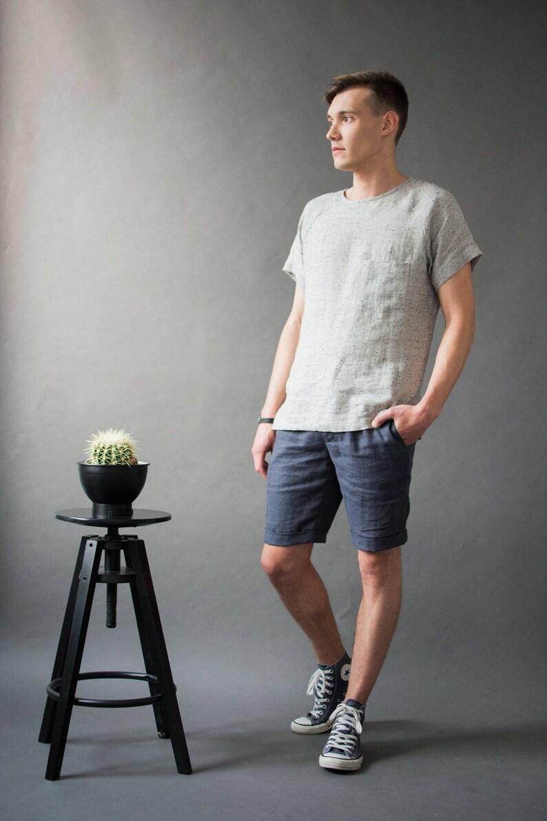 Men's linen t-shirt/Loose linen shirt/ Round-neck shirts/ image 0