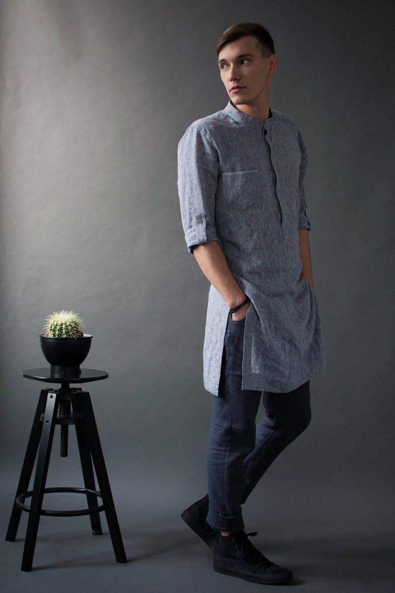 Men's linen tunic Kaftan men's Linen long shirts image 0
