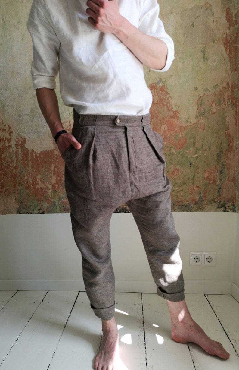 Loose linen pants Men's linen trousers Linen capri image 0