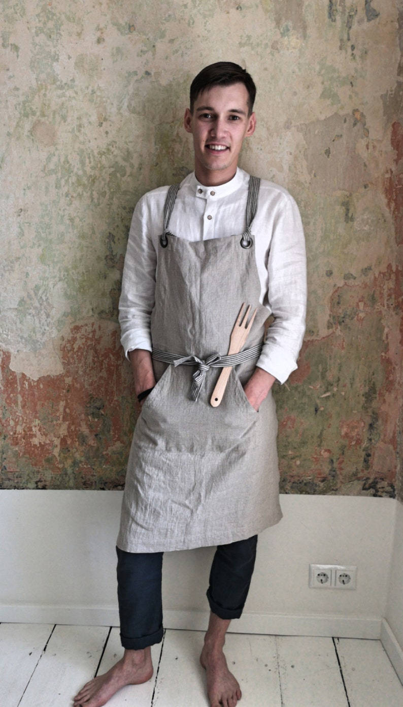 Linen men apron/ Cross back apron/ Japan linen apron/ Cross image 0