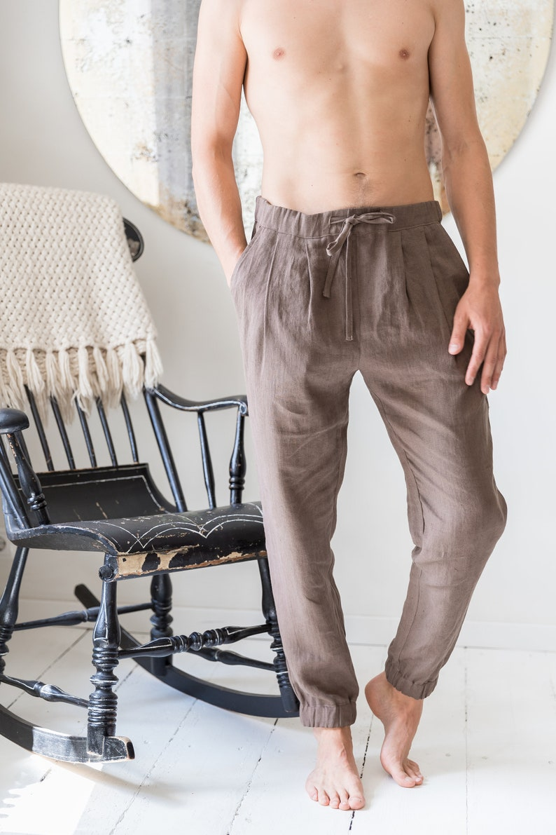 Men's harem pants Loose linen pants Linen mens trousers image 0