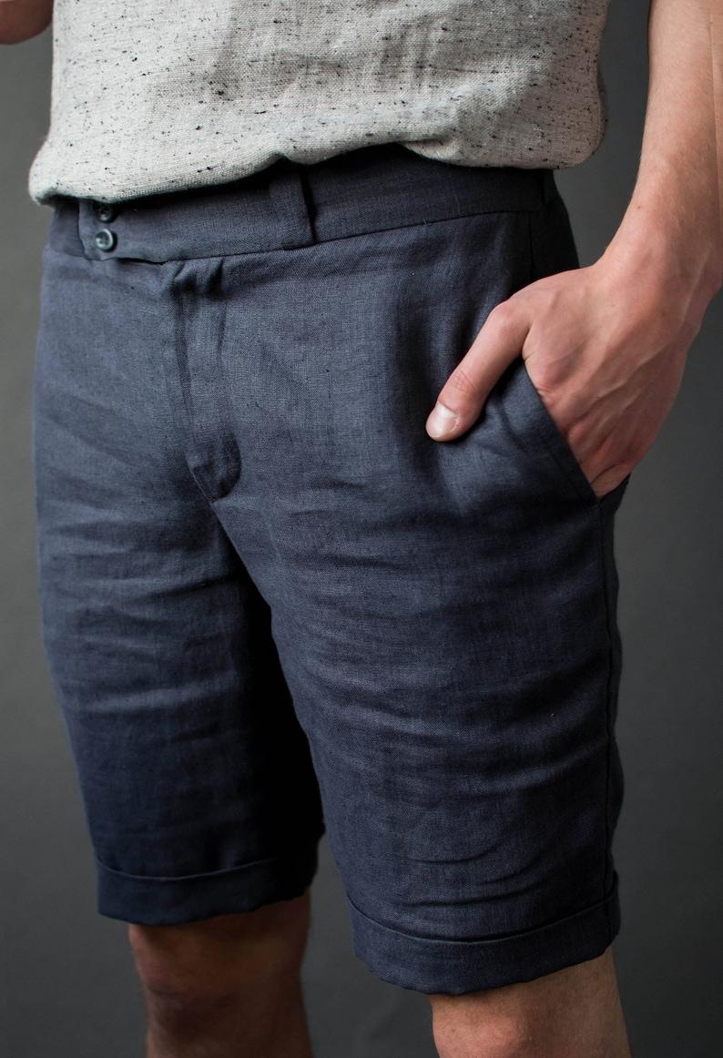 Linen men's shorts Bermuda shorts Casual men's image 0