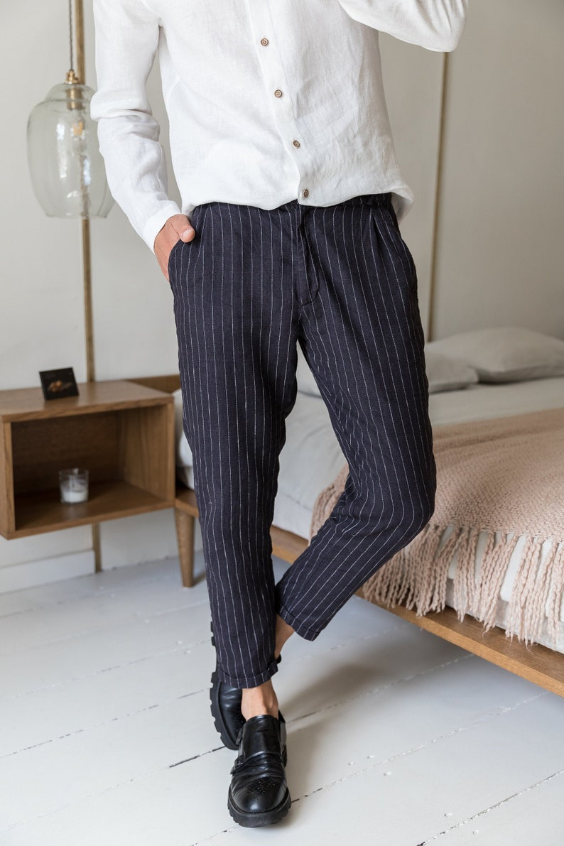 Capri linen pants/ Linen pants men/ Tapered linen pants/ image 0