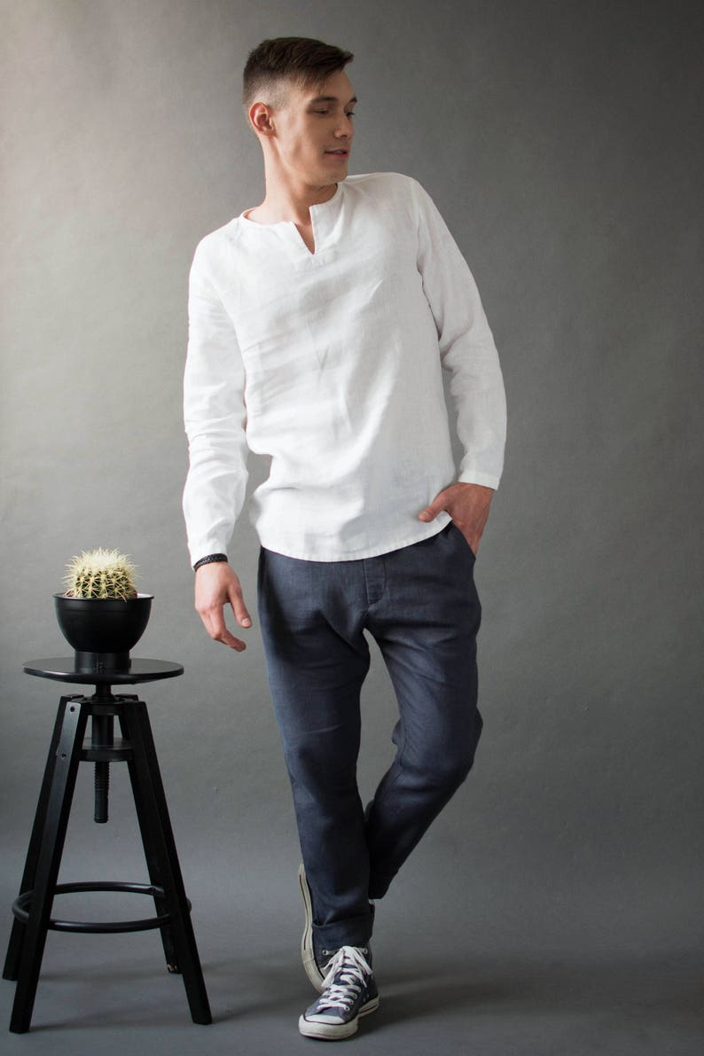 Linen men's shirts Wedding men's shirts Casual linen image 0