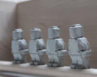 Set of 4 Concrete Lego Figures