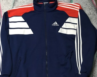 8cda8af22a8e Vintage Adidas Track Jacket Unisex Long Sleeve Zip-Up Size XL Red White Blue
